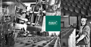 Zu sehen ist ein Zusammenschnitt mehrerer Schwarz/Weiss-Aufnahmen innerhalb des Firmengeländes von Purus Plastics.