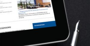 Nahaufnahme IPad mit geöffneter BD Sensors Webseite