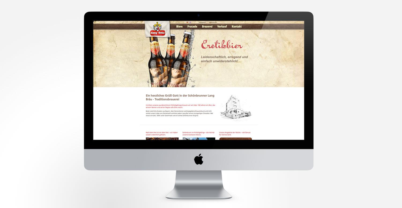Monitor mit Webseite Lang Bräu