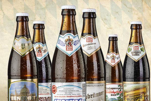 6 verschiedene Biere der Firma Lang Bräu
