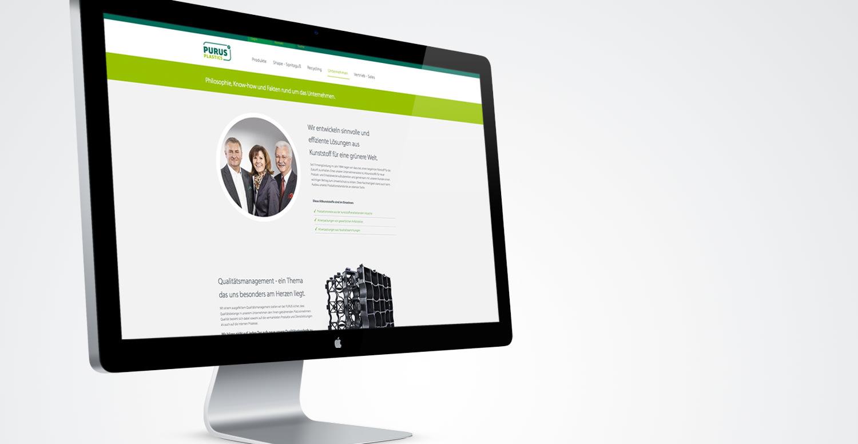 Monitor mit geöffneter PURUS PLASTICS Webseite